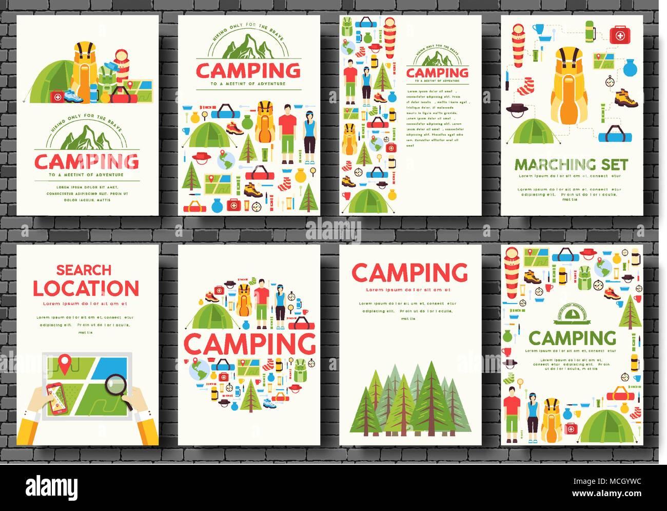 Camping tarjetas de viaje. Plantilla de senderismo flyear, revistas ...