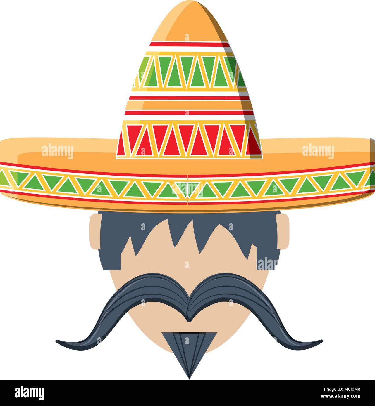 Hombre con bigote y sombrero mexicano icono sobre fondo blanco ... 1cfa0fc328c