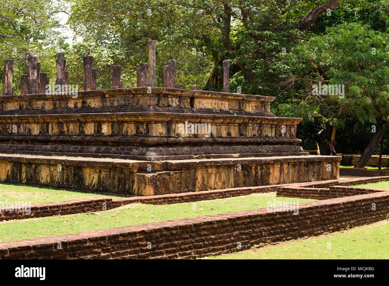 Ruinas del Palacio Real, Auditorio, Polonnaruwa, la Provincia Central del Norte, Sri Lanka Imagen De Stock
