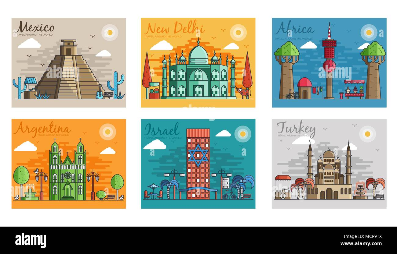 Conjunto de diferentes ciudades para destinos de viaje. hitos banner ...