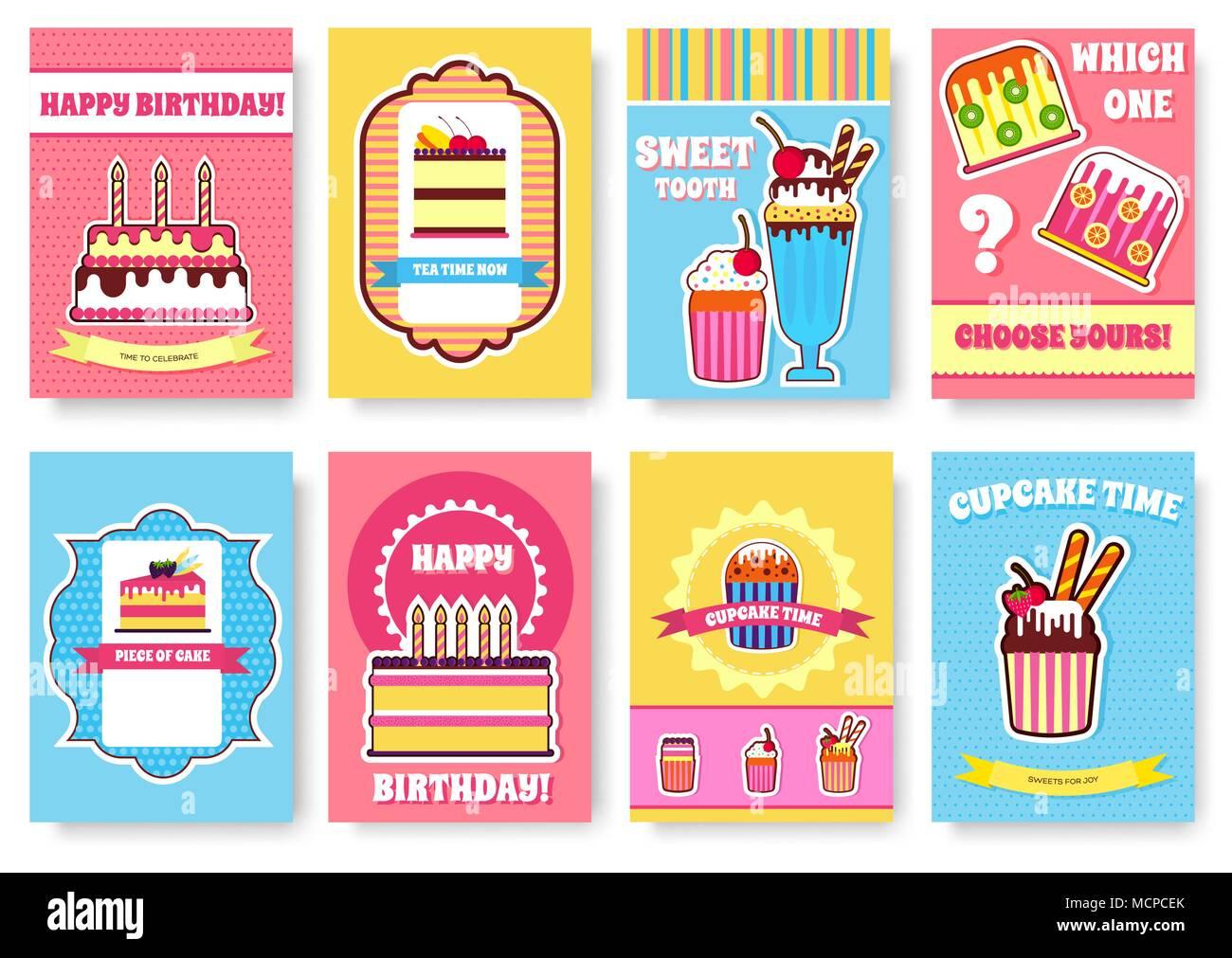 Dulces para fiesta o boda folleto conjunto de tarjetas. Cake stand ...