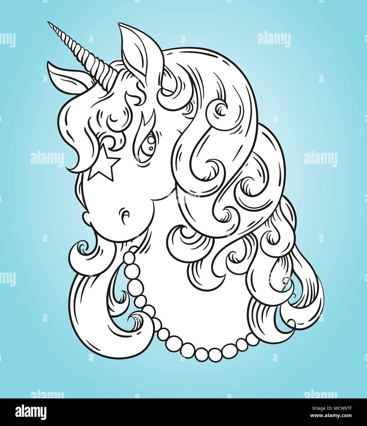 Cabeza De Unicornio Retrato Página Póster Para Colorear Cute