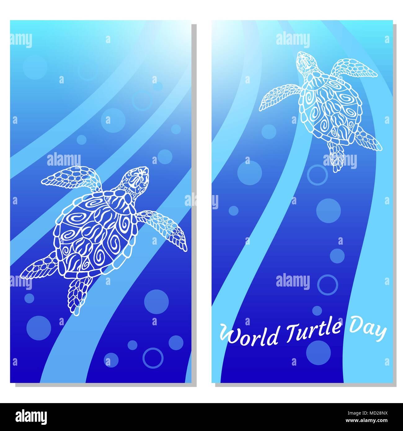 Día Mundial de la tortuga. Las tortugas de agua swim up. Burbujas, rayos de luz. Dibujo en estilo étnico aborigen. Fondo azul. Volantes para los participantes del evento. Ilustración del Vector
