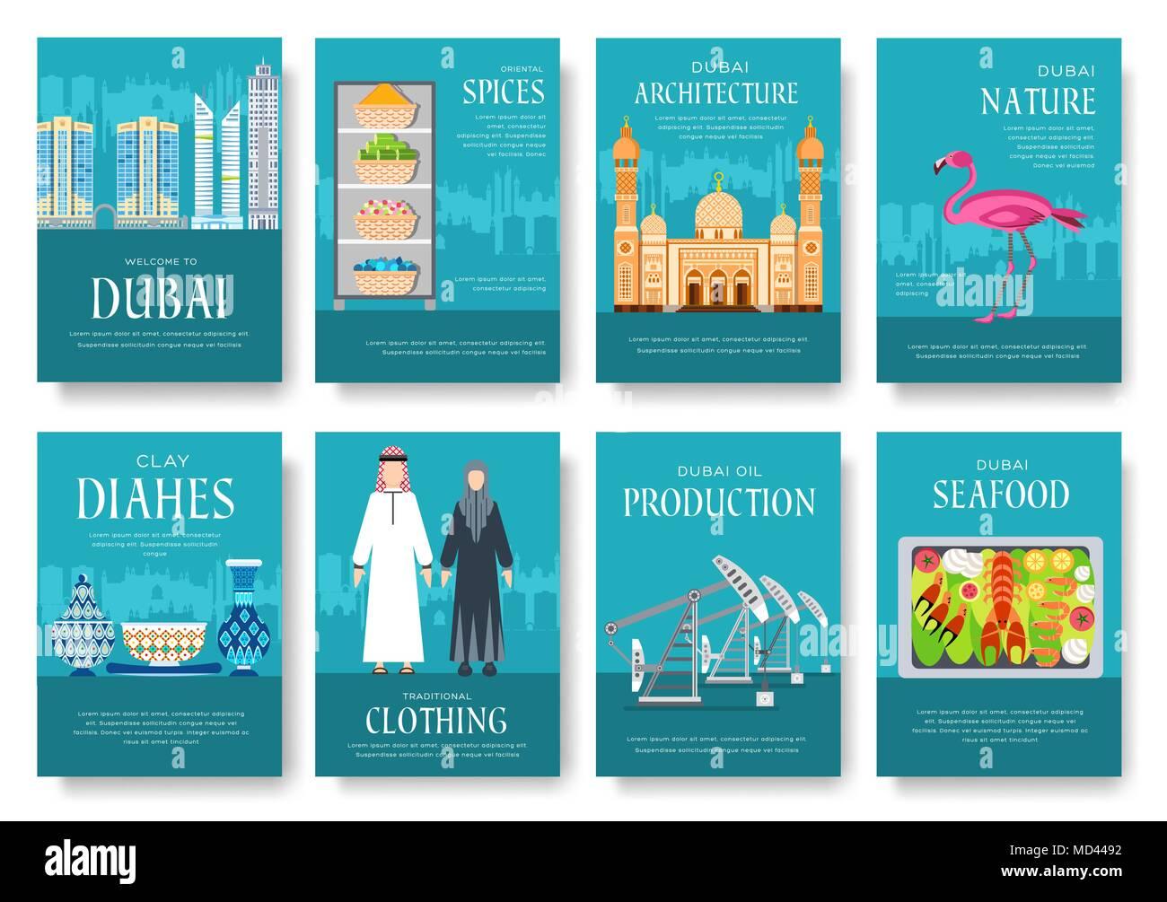 Dubai folleto vector conjunto de tarjetas. País de plantilla flyear ...