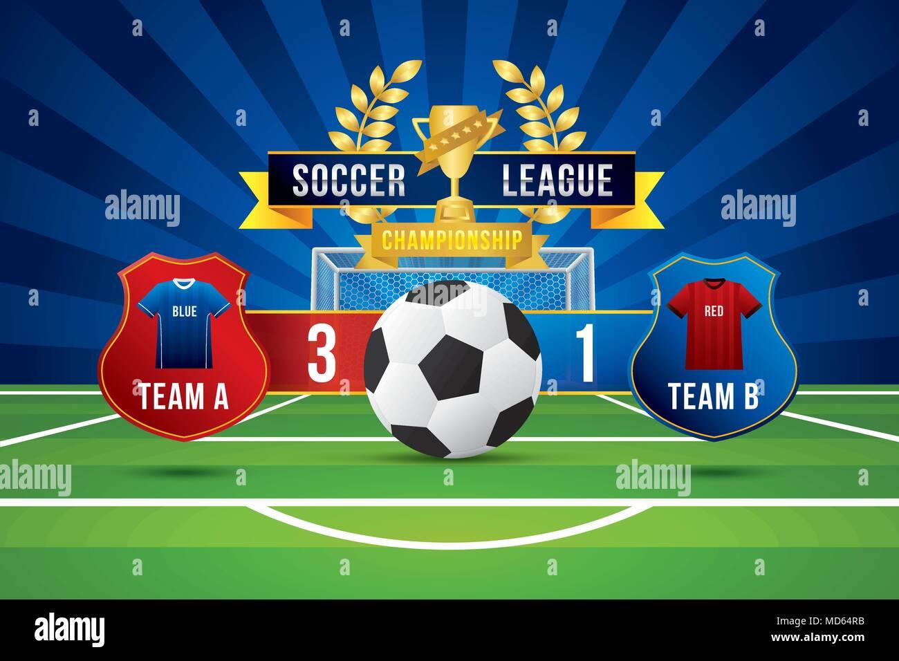 e1e6575f23836 Vector de liga de fútbol con el equipo de la competencia y del marcador en  el campo verde de fondo.