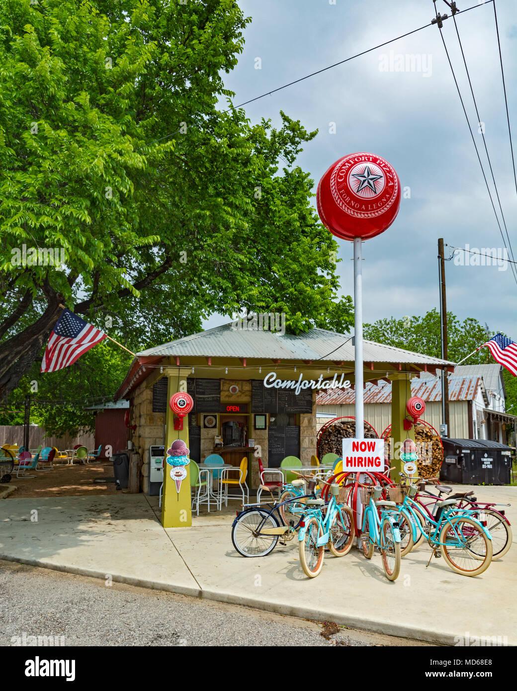Texas Hill Country, Kendall County, la comodidad, el restaurante de pizza Imagen De Stock