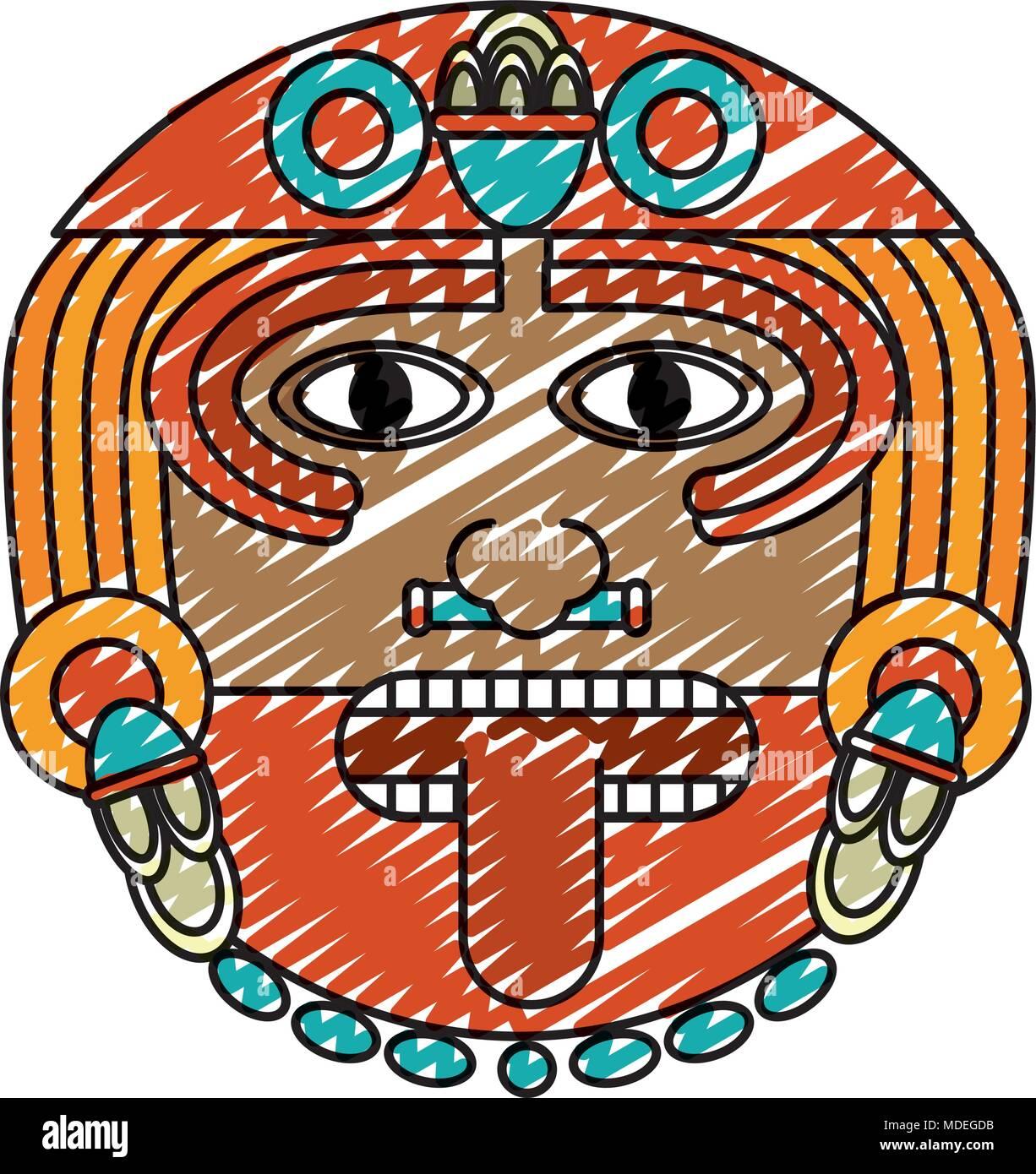 Doodle Dios Sol Símbolo De La Cultura Azteca Ilustración Del Vector