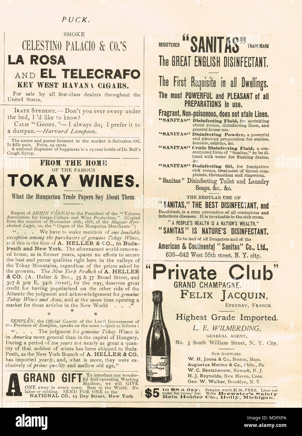 Principios de publicidad norteamericana, Puck, 1888 Foto de stock