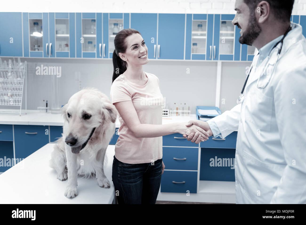 Feliz encantado mujer ser agradecidos al veterinario Foto de stock
