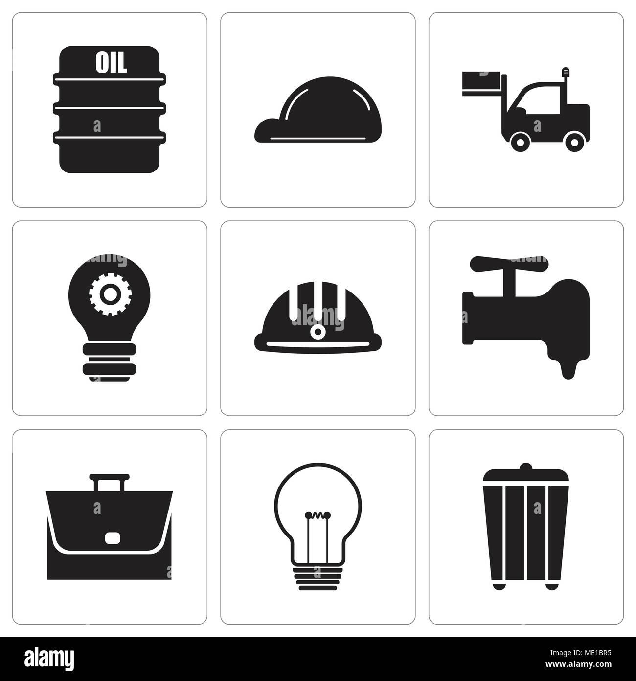 Conjunto de 9 sencillos iconos editables como basura 5c0fd34e776