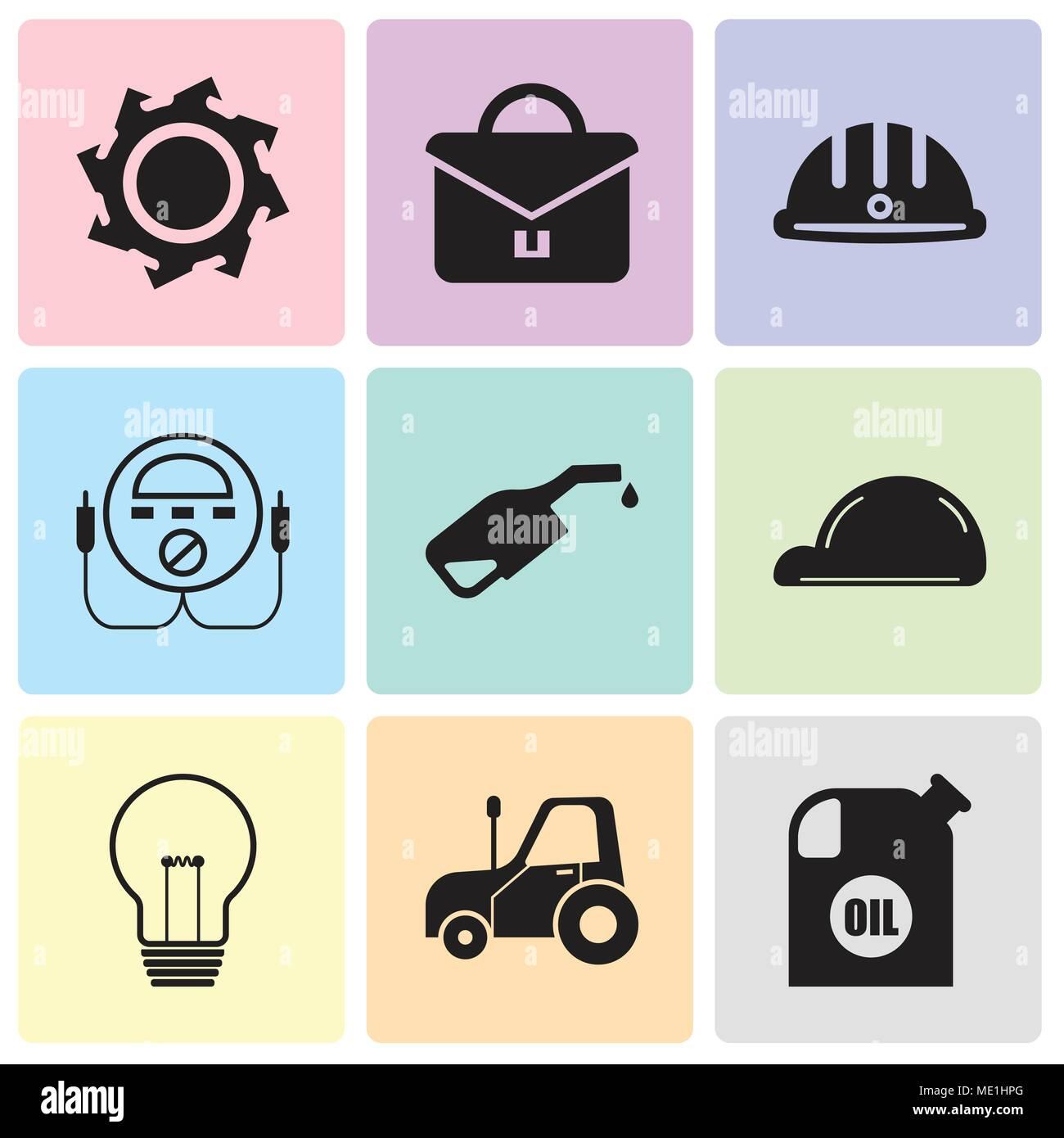 Conjunto de 9 sencillos iconos editables como recipiente para aceite ... 9a6bfd4b0b4