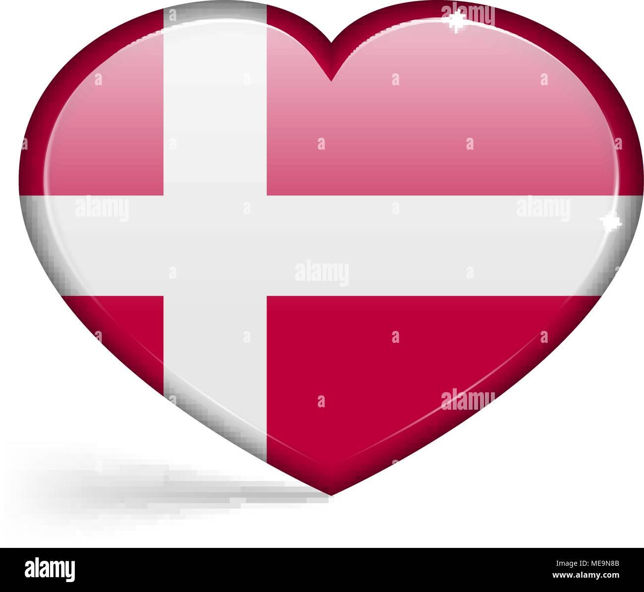 Banderas de Dinamarca en forma de corazón con reflejos en los bordes. Ilustración vectorial Ilustración del Vector