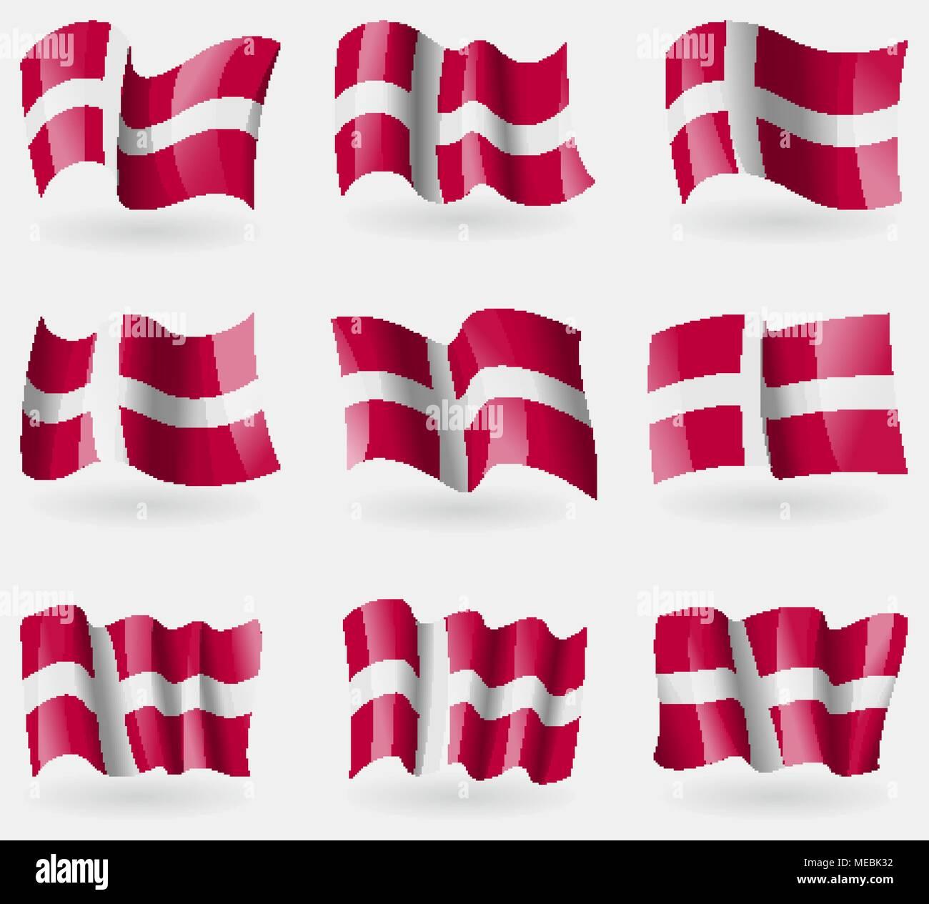 Conjunto de Dinamarca banderas en el aire. Ilustración vectorial Ilustración del Vector