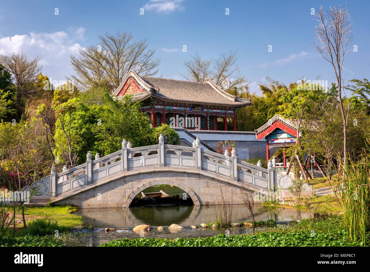 El templo chino, Xiamen International Garden & Flower Expo Park, Distrito Jimei, Xiamen, Fujian, China Foto de stock