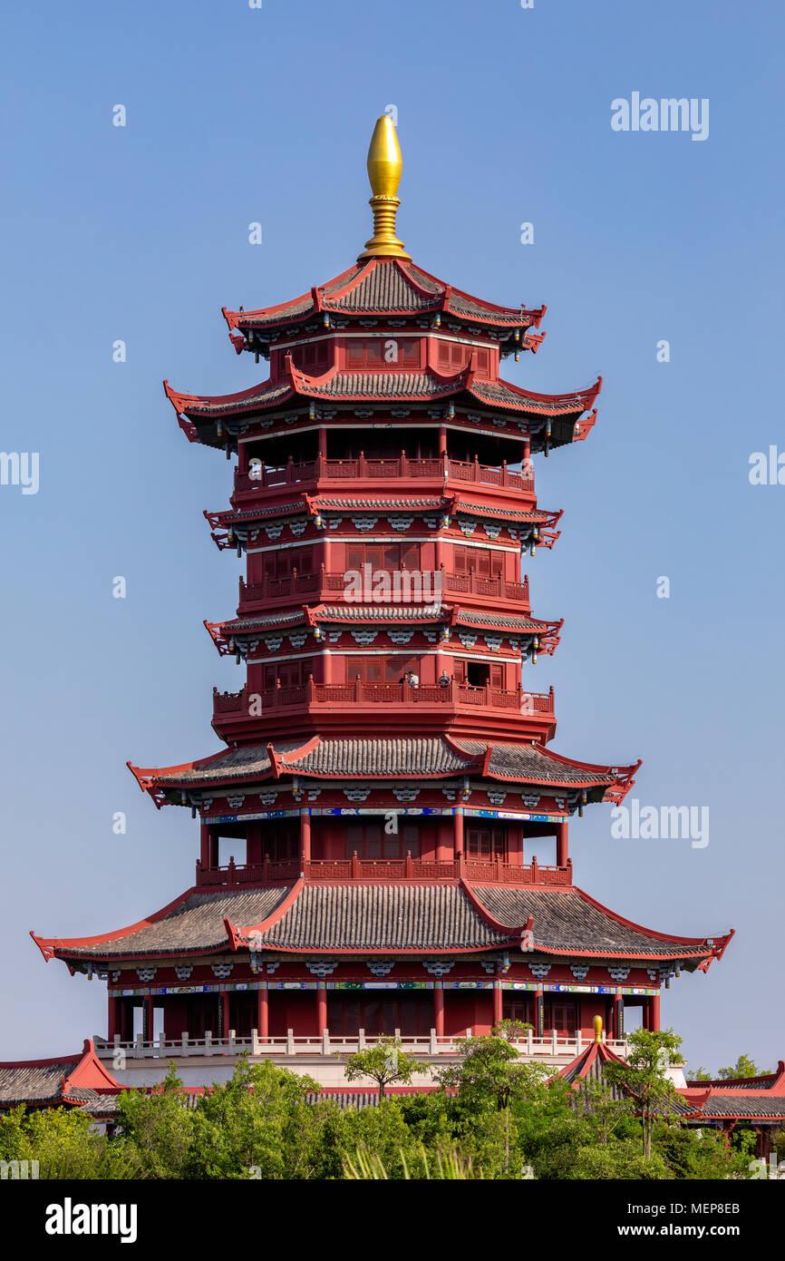 Pabellón Xinglin, Xiamen International Garden & Flower Expo Park, Distrito Jimei, Xiamen, Fujian, China Foto de stock