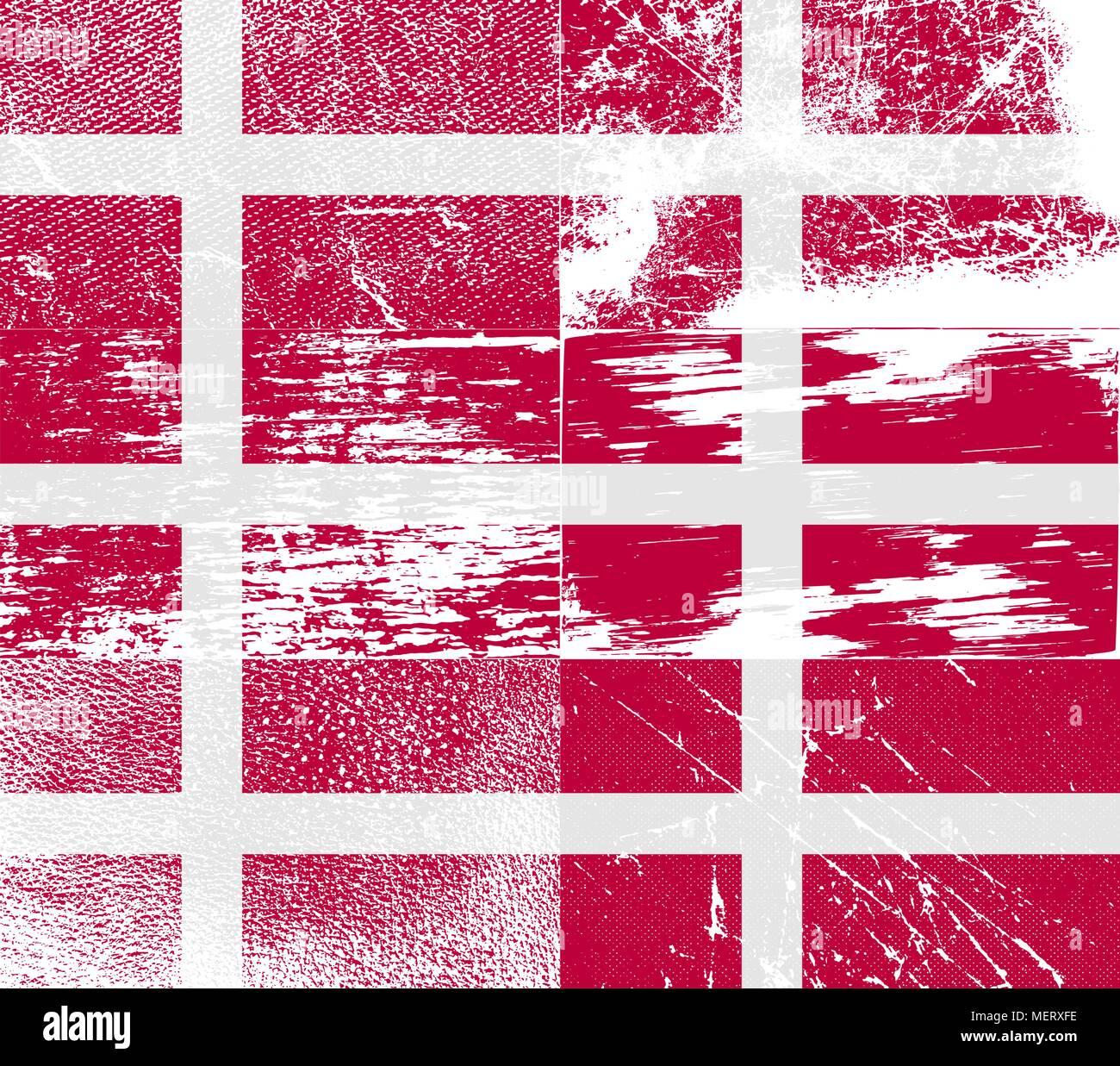 Pabellón de Dinamarca con la vieja textura. Ilustración vectorial Ilustración del Vector