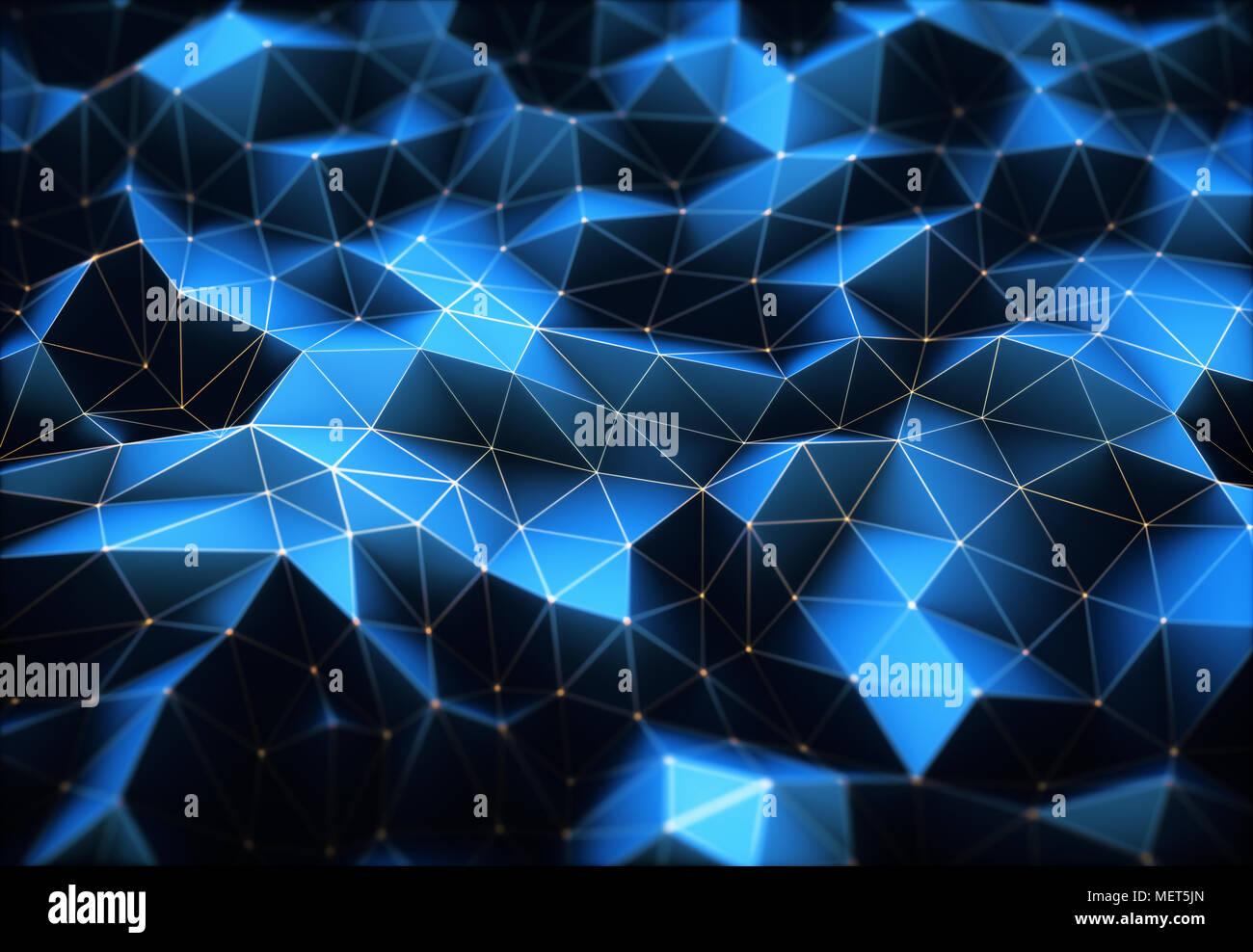 Ilustración 3D. Imagen abstracta, conexiones en líneas y formas geométricas. Concepto de tecnología para utilizar como fondo. Imagen De Stock