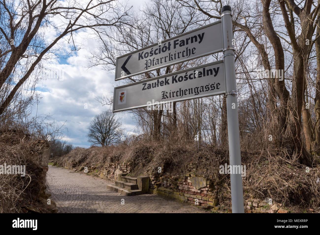 Ciudad Fantasma de Kustrin, ruinas de la desierta ciudad prusiana destruida por los soviéticos en la segunda guerra mundial Imagen De Stock