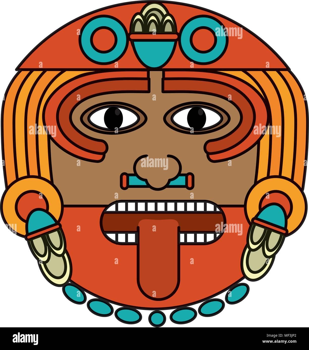 Dios Sol Azteca Color Símbolo De Cultura Ilustración Vectorial