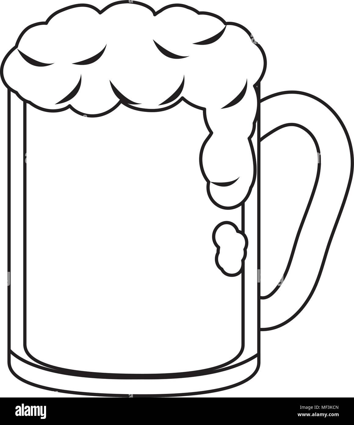 Línea Alcohol Cerveza En El Vaso Para Celebrar Eventos Ilustración