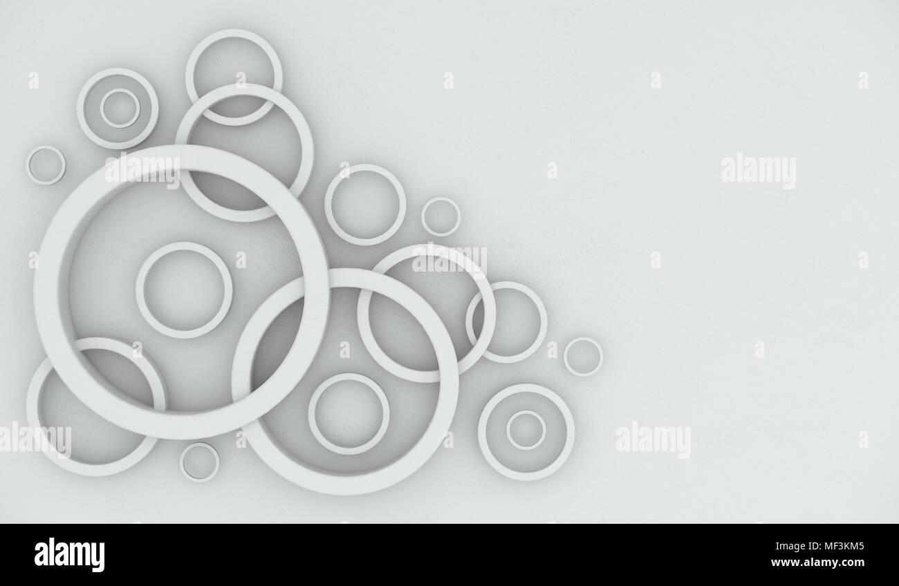 3D Rendering de círculo abstracto Marcos Vista superior con espacio para texto Foto de stock