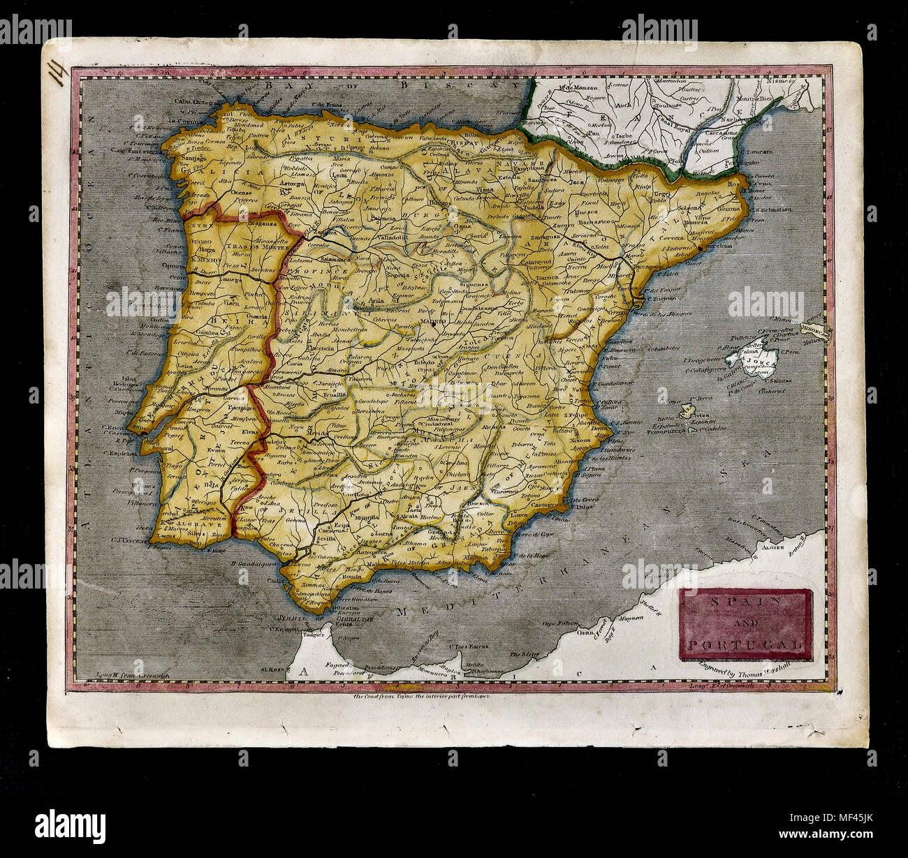 1804 Arrowsmith Mapa Espana Y Portugal Lisboa Braga Porto