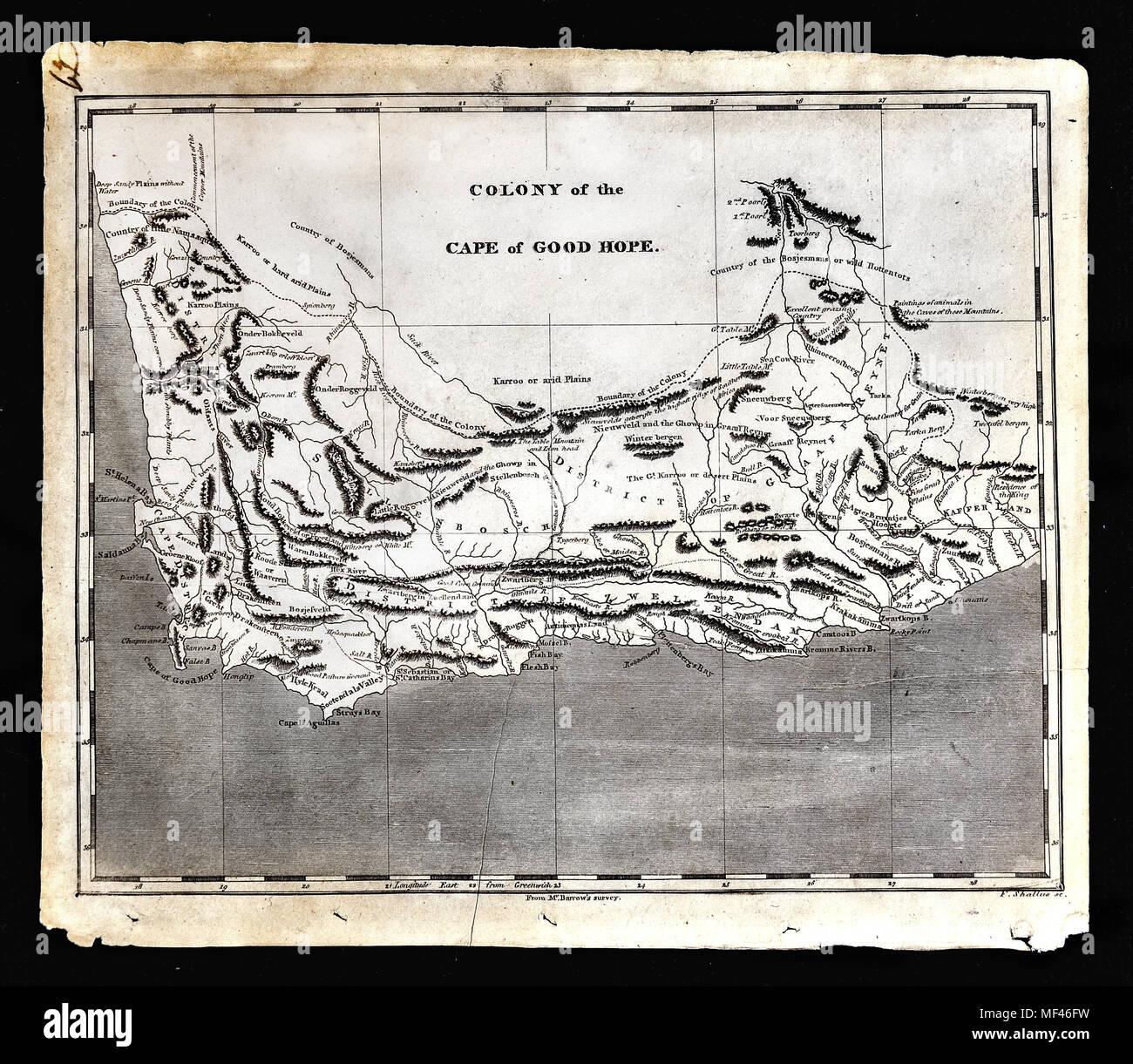 Desierto De Kalahari Mapa.1804 Arrowsmith Mapa Sudafrica Cabo De Buena Esperanza