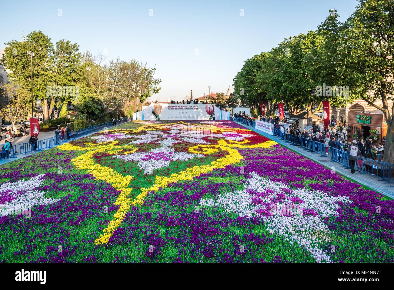 Tomar fotografías de personas no identificadas de tulipanes de alfombras más grande del mundo en Sultanahmet para festival de tulipanes en Estambul, Turquía.21 de abril de 2018 Foto de stock
