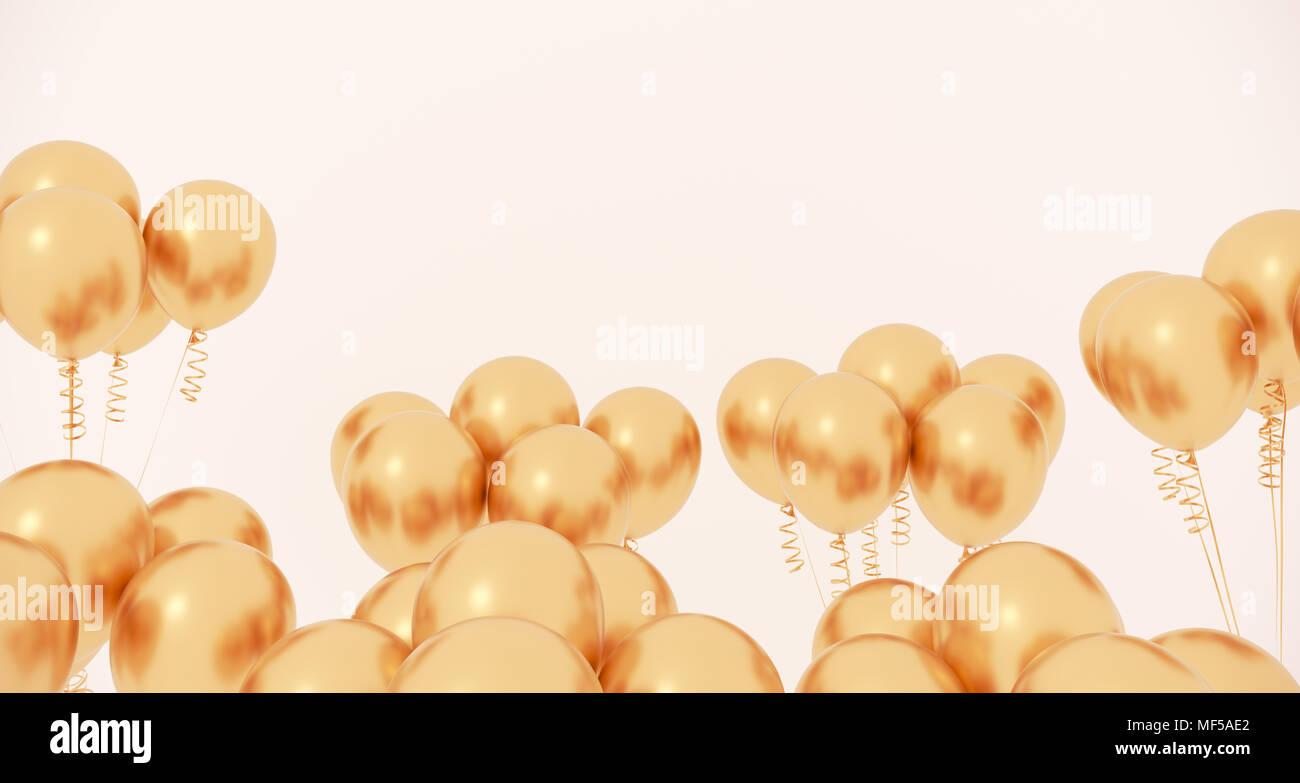 3D Rendering del Partido realista Closeup globos sobre un fondo claro Foto de stock