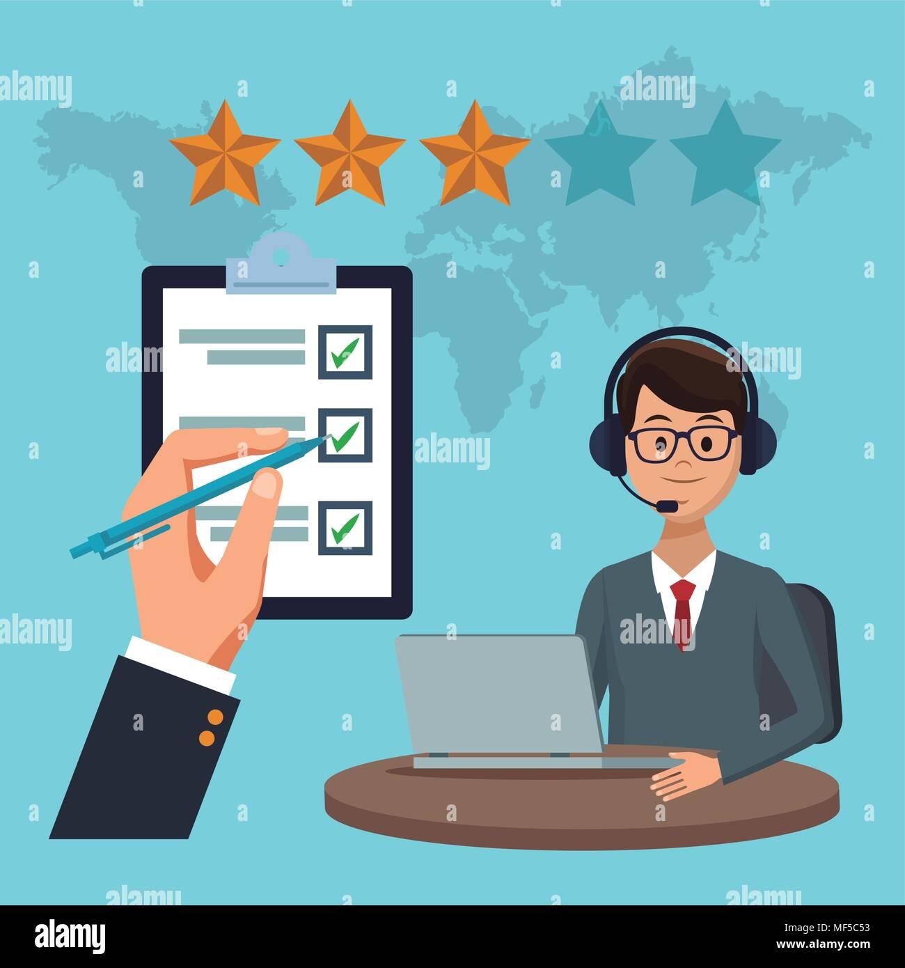 Call center y servicio al cliente. Imagen De Stock