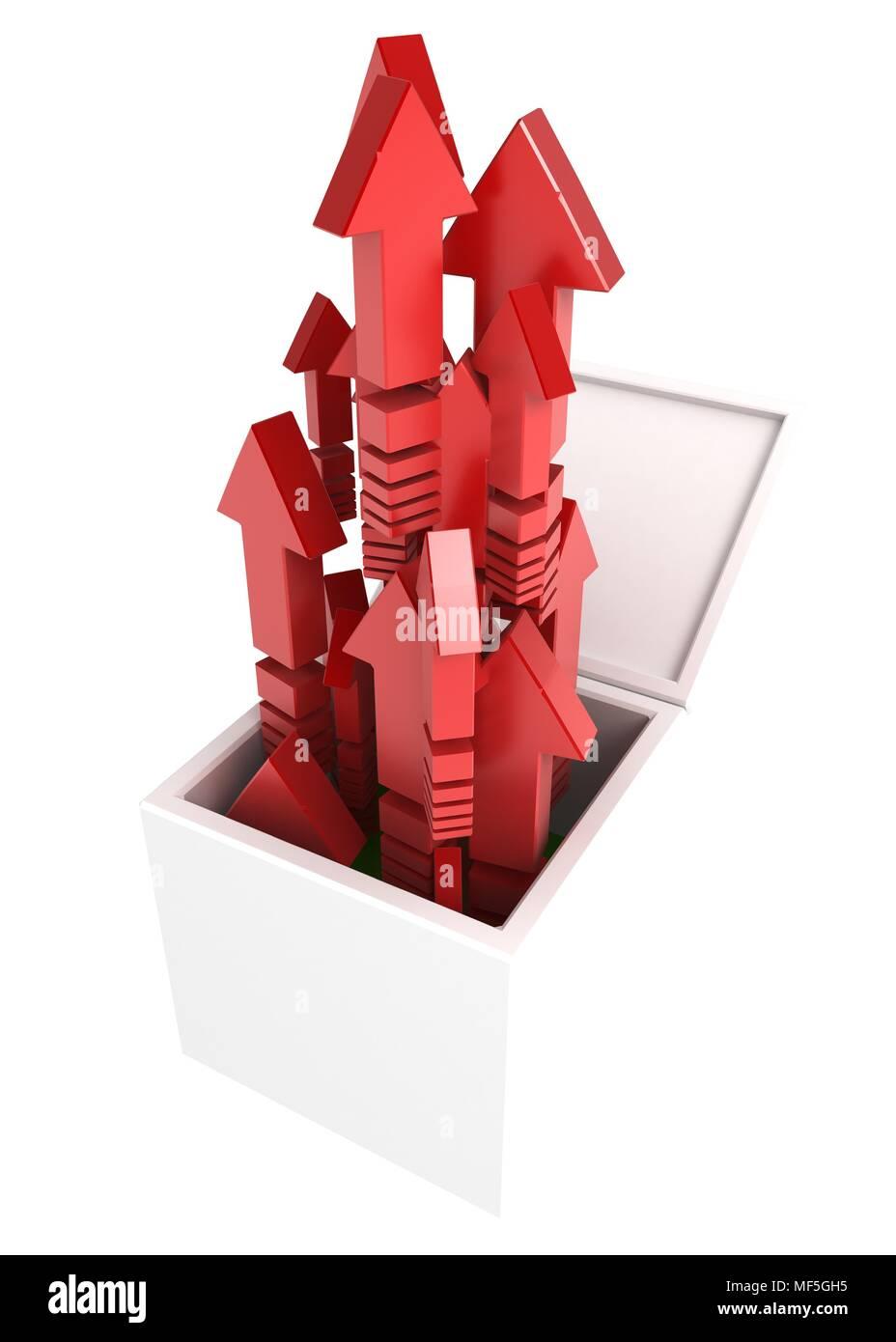 Abra una caja 3d con flechas rojas Imagen De Stock