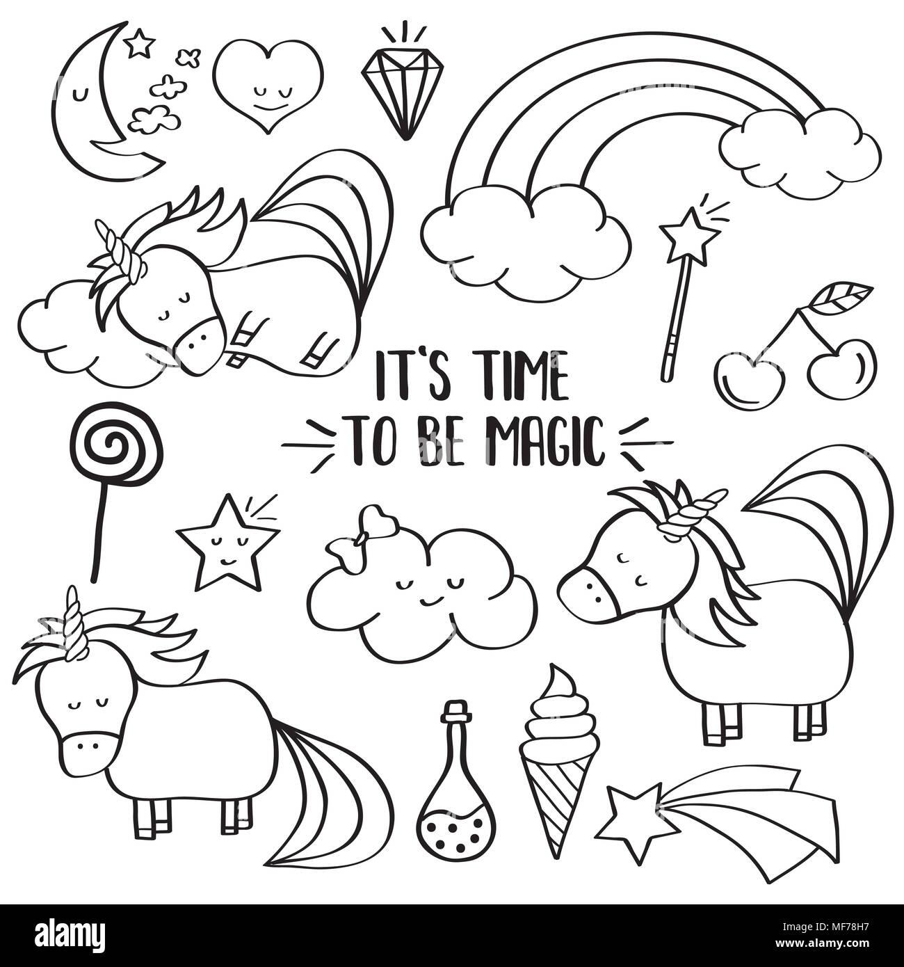 Doodle Colección Items Con Unicornios Y Otros Elementos Mágicos De