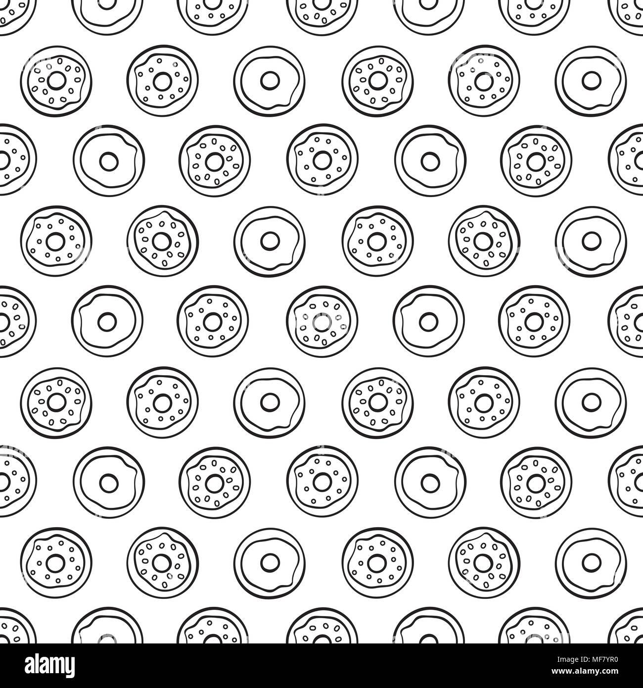 Cute Dibujos Animados Donuts Sobre Fondo Blanco Patrón Sin