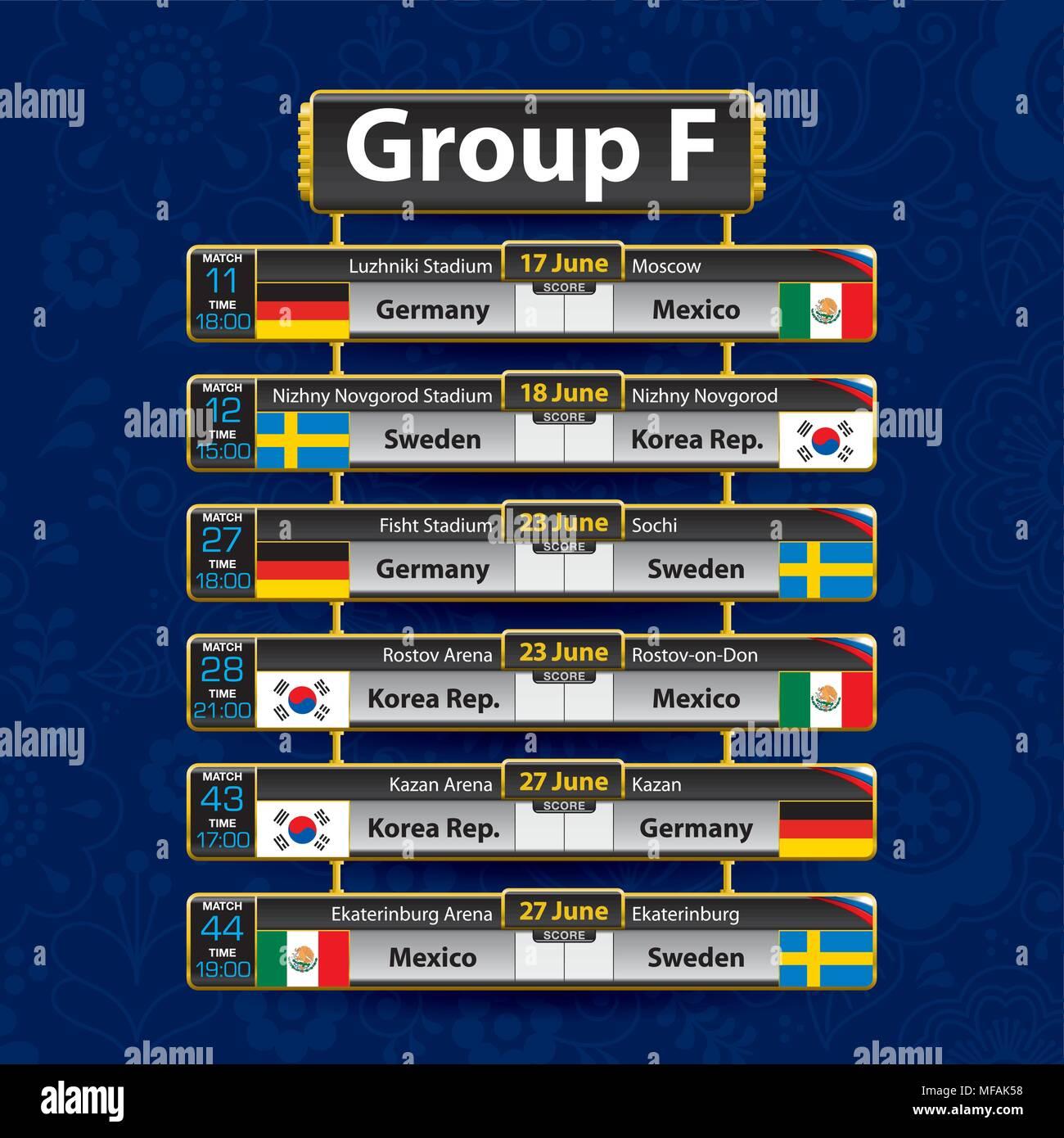 Calendario F.Calendario De Torneos De Futbol De Rusia Grupo F Con La