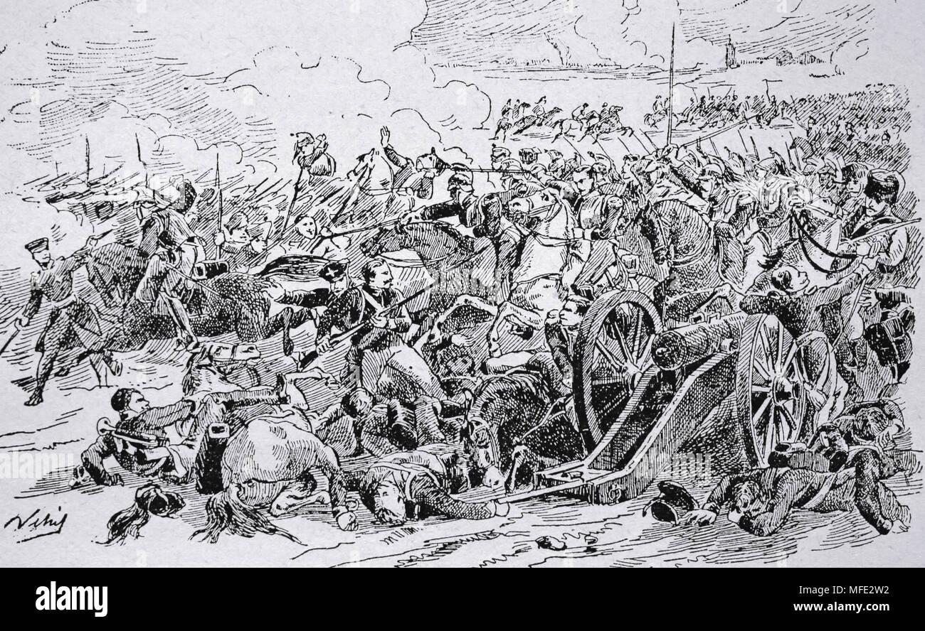 Las guerras napoleónicas. Parte de la guerra de la Cuarta Coalición. Batalla de Eylau. 7-8 de febrero de 1807. Grabado del siglo XIX. Foto de stock