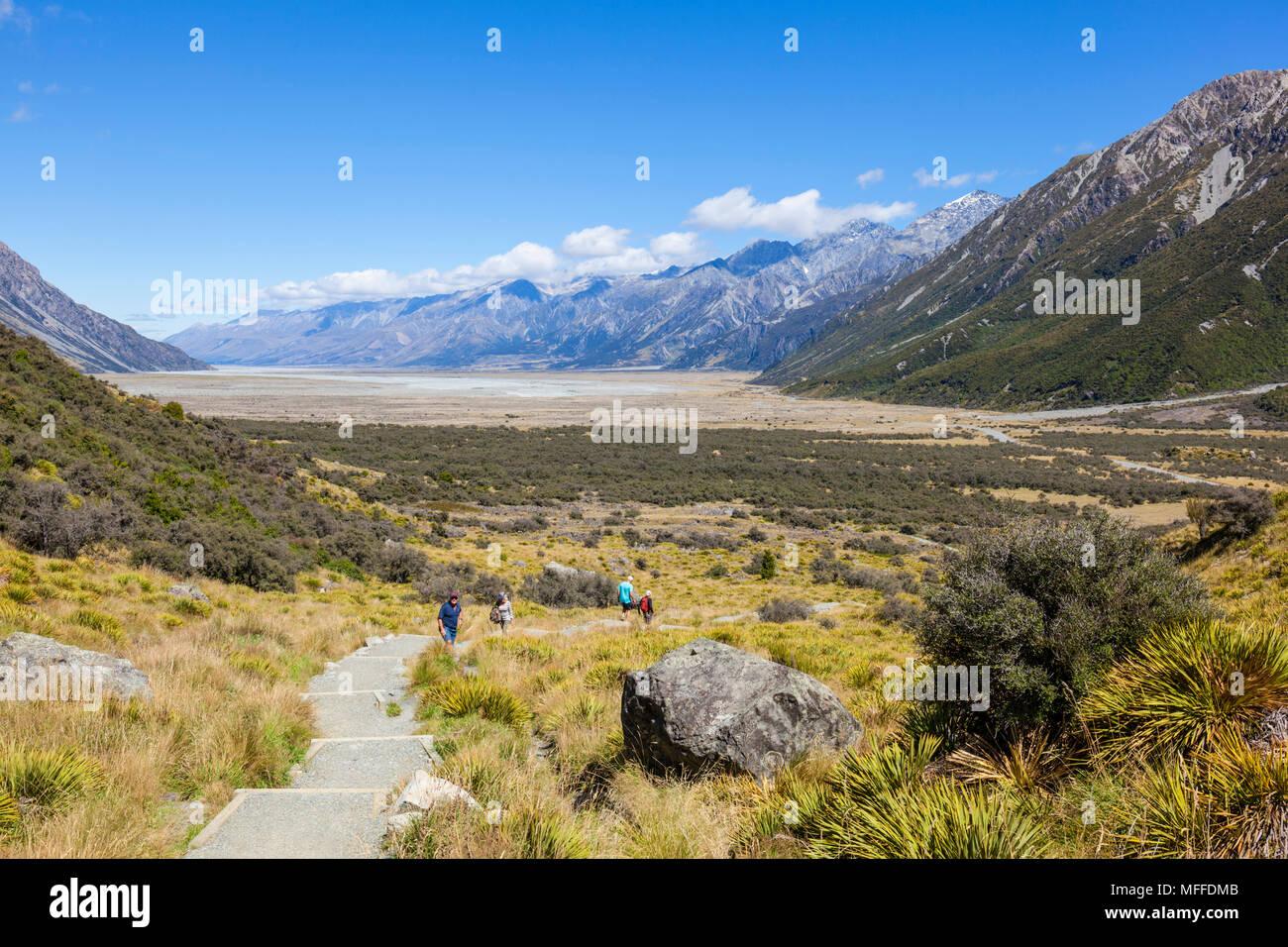 El parque nacional de Monte Cook boardwalk ruta al glaciar de Tasmania nueva zelanda, Isla del Sur, Nueva Zelanda Imagen De Stock