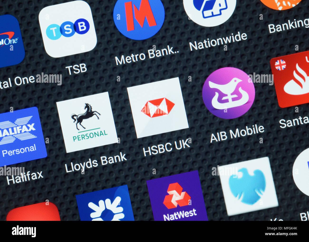Aplicaciones bancarias en un Smartphone, Cerrar Imagen De Stock