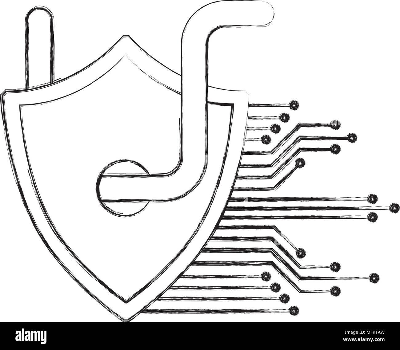 Cyber Security Shield protección virus gusano tecnología circuito hacking Imagen De Stock