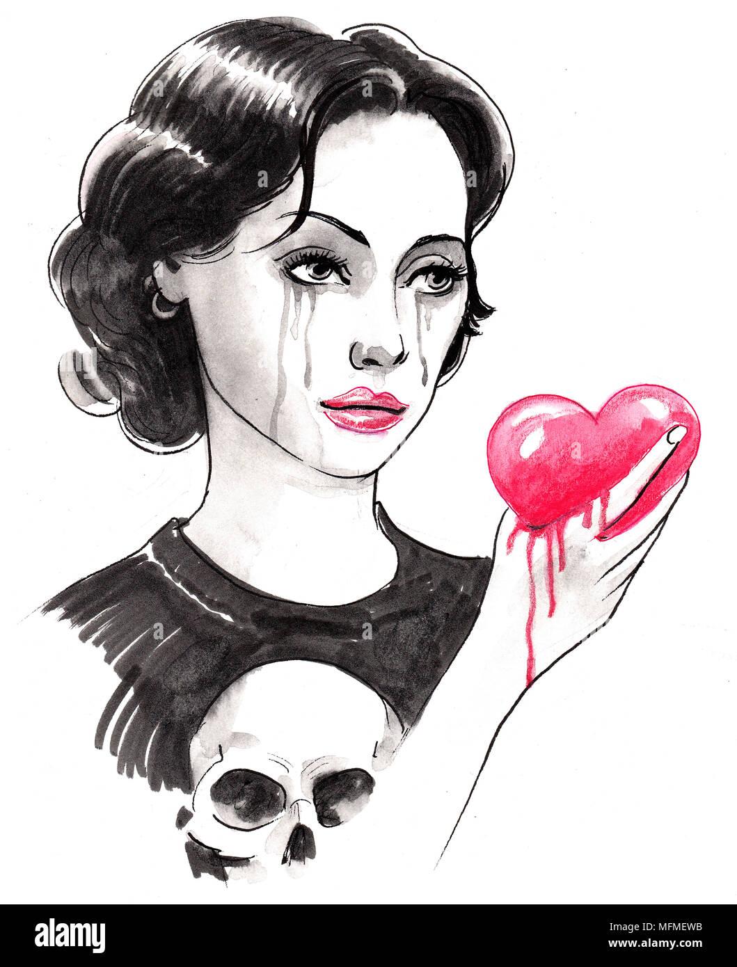 Llorando Chica Con Un Corazón Sangrando Tinta Dibujo En Blanco Y