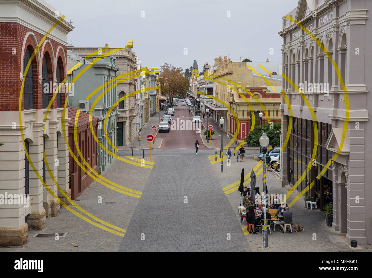 Fremantle ilusión óptica street art - Imagen De Stock