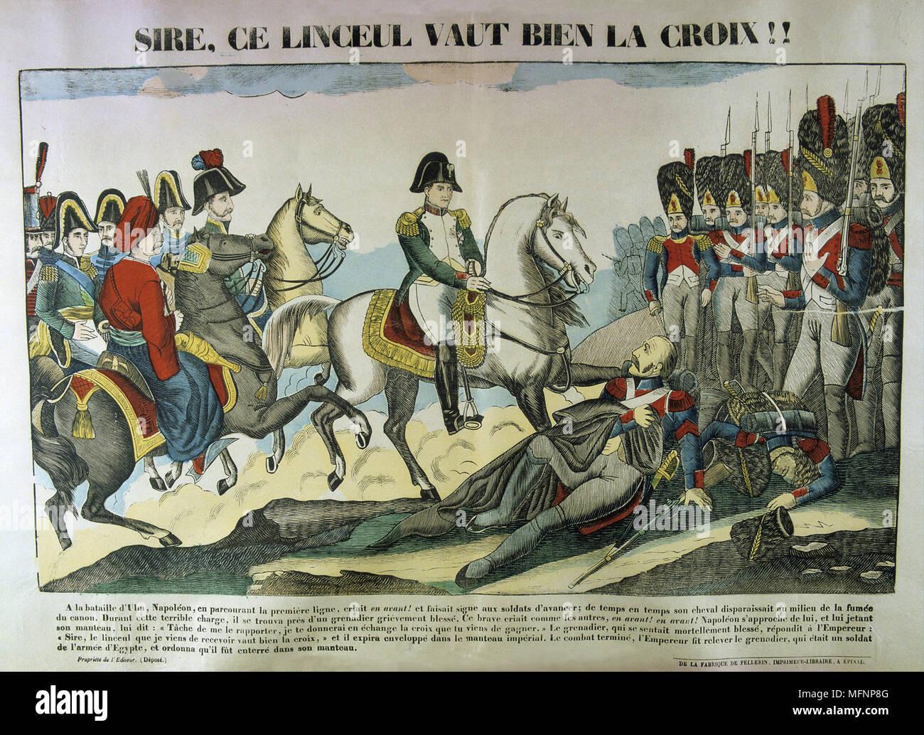 Napoleón I en la batalla de Ulm, 16-19 de octubre de 1805. El resultado fue una resonante victoria francesa la captura de todo el ejército austríaco . Napoleón hablando con un granadero francés herido. Popular del siglo XIX xilografía coloreada a mano. Imagen De Stock