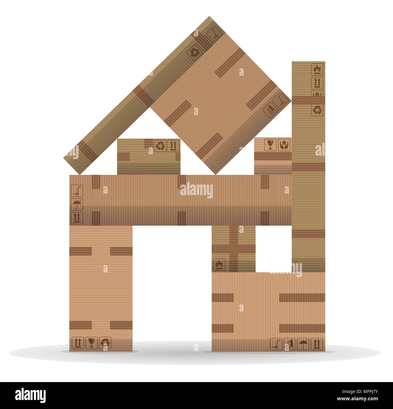 El cambio de casa con cajas de cartón. Todos los objetos y símbolos de embalaje están en capas distintas. Imagen De Stock