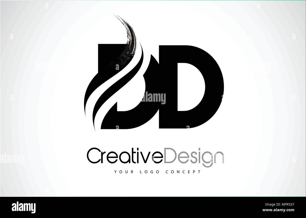 DD D D Creativa letras negras moderno diseño de logotipo Swoosh con pincel Ilustración del Vector