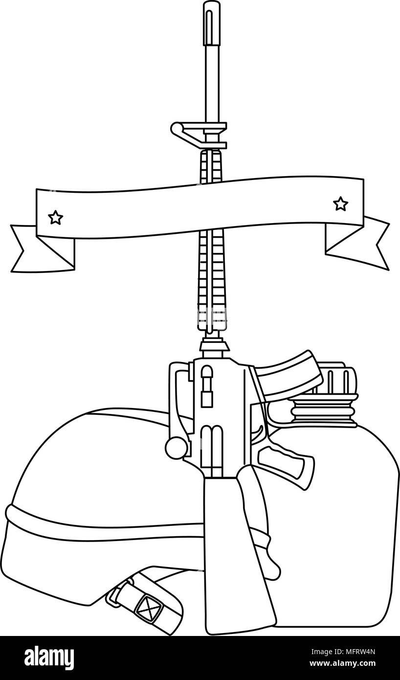 Rifle con casco de guerra y comedores diseño ilustración ...