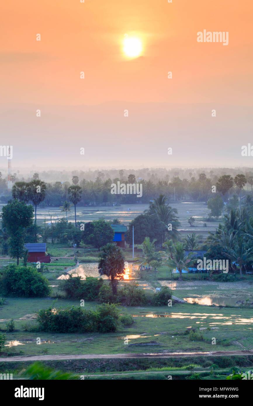 Paisaje rural en el sur de Camboya cerca de Kampot Imagen De Stock