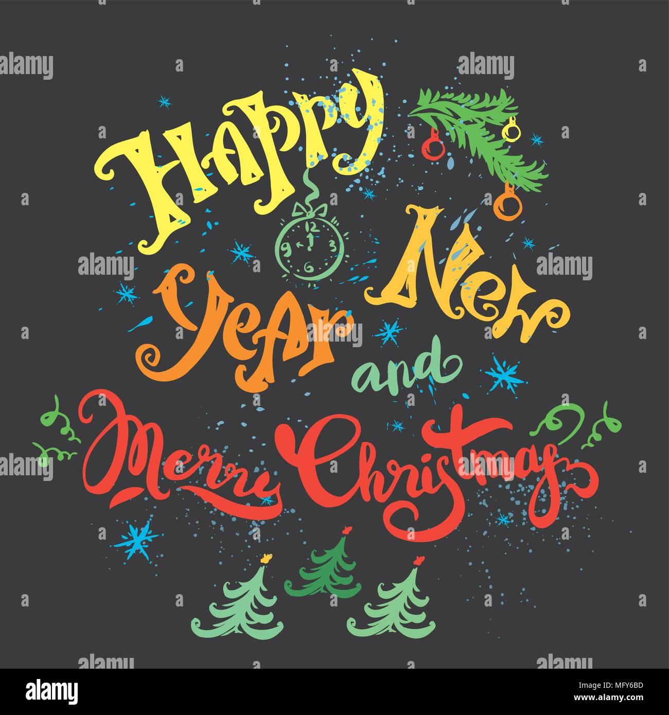 Feliz Año Nuevo 2017 Vintage de caligrafía de tarjetas de felicitación de Año  Nuevo vacaciones, dibujadas a mano vintage Grunge antecedentes Feliz Año  Nuevo 2017, vector illustrati Imagen Vector de stock - Alamy