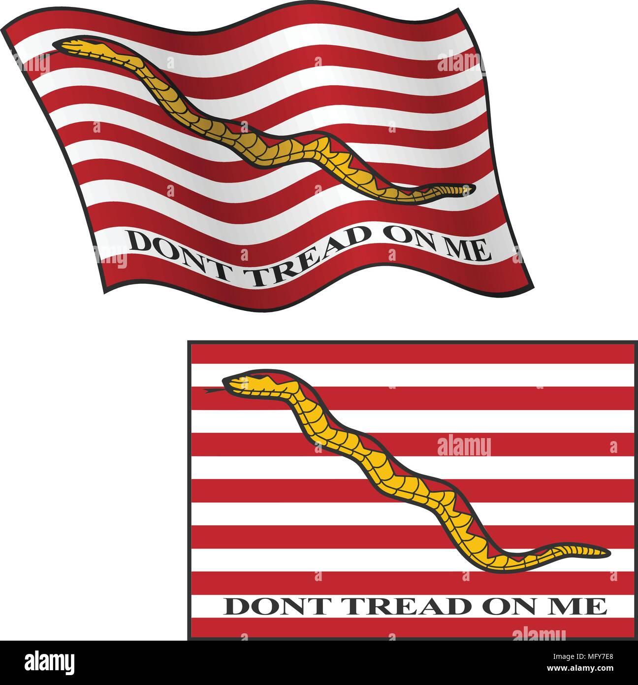 Dont Tread en mí Bandera, ondeando y planas, Ilustración gráfica vectorial Imagen De Stock