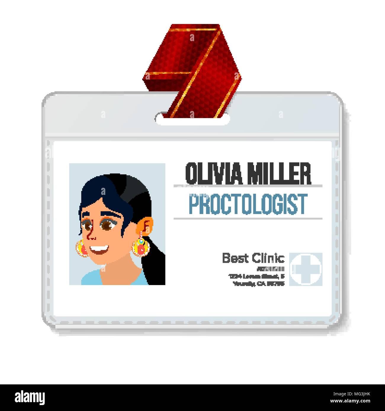 Identificación Proctologist Vector. Mujer. Plantilla de tarjetas de ...