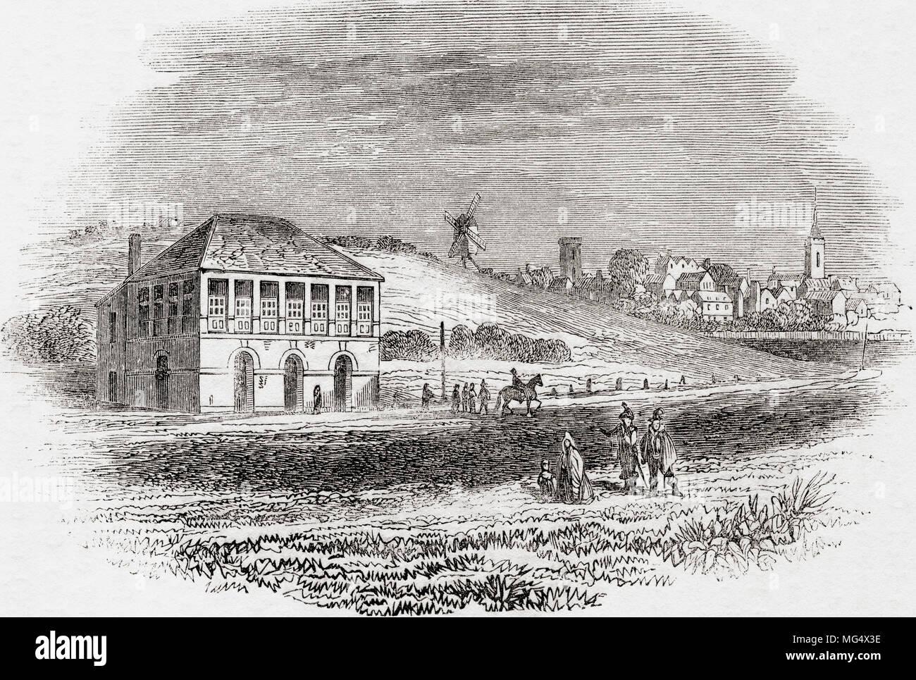 Newmarket Racecourse, Newmarket, Inglaterra, en tiempos de Carlos I de Inglaterra vieja: un museo pictórico, publicado 1847. Imagen De Stock