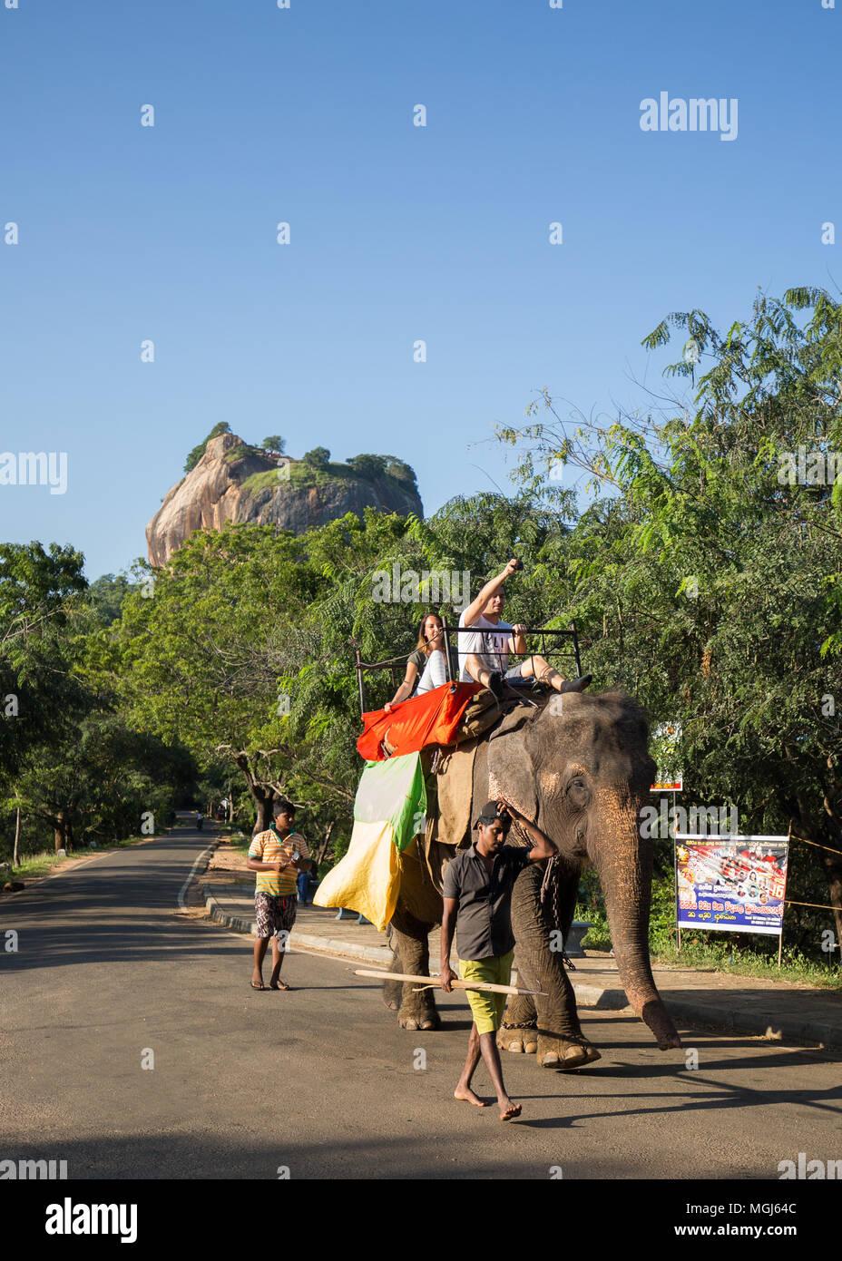 Los turistas cabalgando sobre un elefante cerca de la Roca de Sigiriya fortaleza, Provincia Central, Sri Lanka, Asia. Imagen De Stock